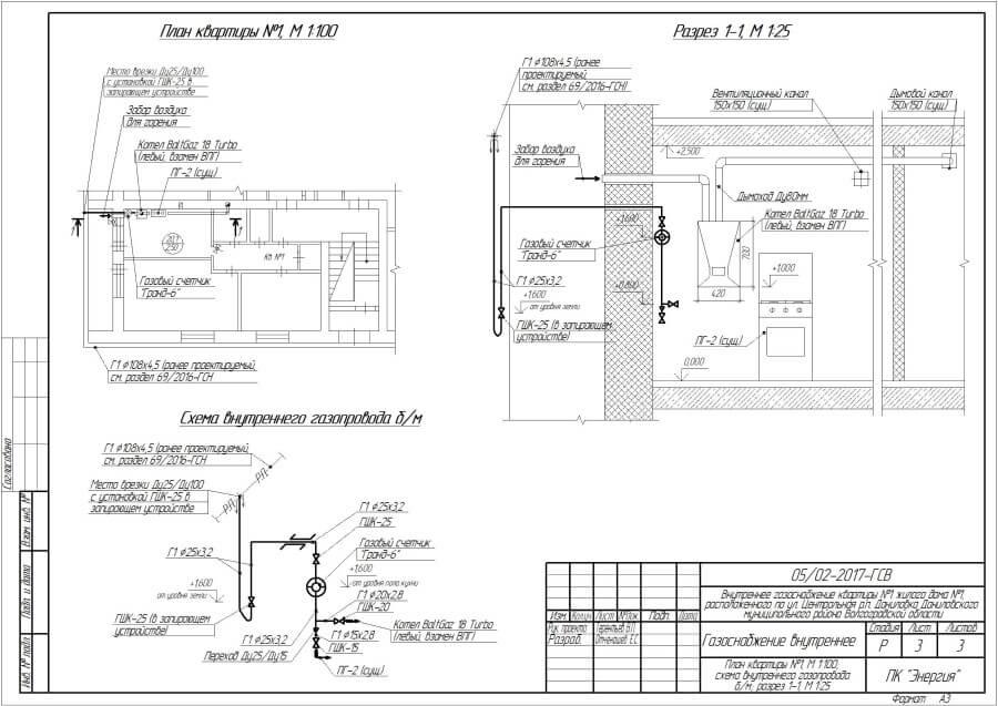 План газового проекта на квартиру